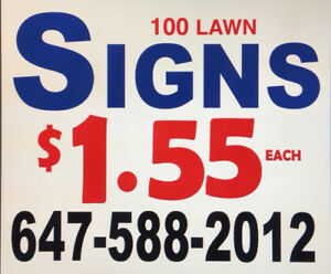 100 lawn Bag signs