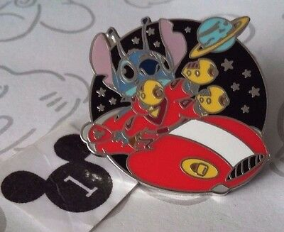Stitch on a Flying Saucer Red Shirt Cast Lanyard Collection 4 WDW Disney Pin