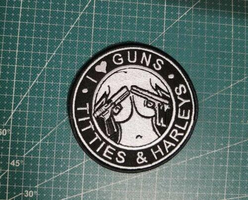 "I LOVE GUNS TITTIES & HARLEYS 3.5"" Biker Patch"