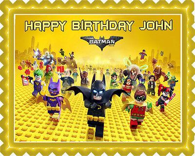 The lego batman movie - Edible Cake Topper & Cupcake Topper (Lego Batman Cake)