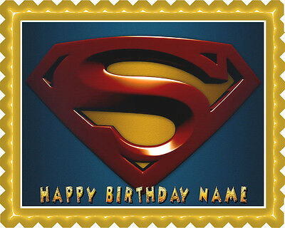 Logo Cake Decoration - SUPERMAN LOGO - Edible Cake Topper OR Cupcake Topper, Decor