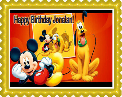 Mickey and Pluto - Edible Cake Topper or Cupcake Topper](Mickey Cake Topper)