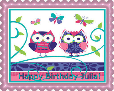 Patchwork Owls - Edible Cake Topper OR Cupcake Topper, Decor