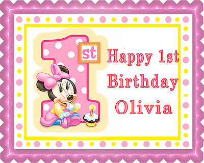 BABY MINNIE MOUSE 1st Birthday (B) - Edible Cake Topper & Cupcake Topper - Minnie Birthday Cake