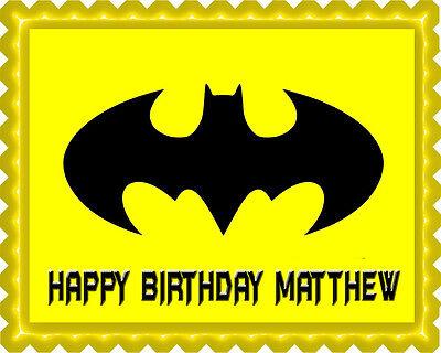 Logo Cake Decoration - Batman Yellow Logo - Edible Cake Topper OR Cupcake Topper, Decor