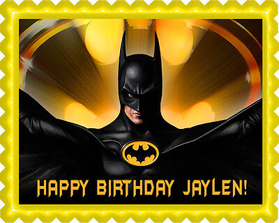 Batman Yellow - Edible Birthday Cake Topper OR Cupcake Topper, Decor - Edible Birthday Cake Decorations