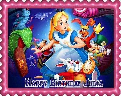 Alice In Wonderland Cake Decorations (Alice in Wonderland - Edible Cake Topper OR Cupcake Topper,)