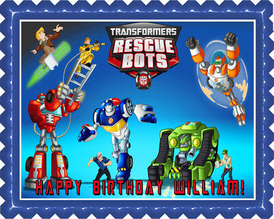 Transformers Rescue Bots (1) - Edible Cake Topper OR Cupcake Topper, Decor