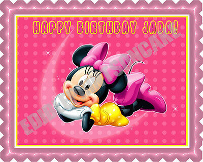 Minnie Mouse - Edible Cake Topper OR Cupcake Topper, Decor](Minnie Cake Decorations)