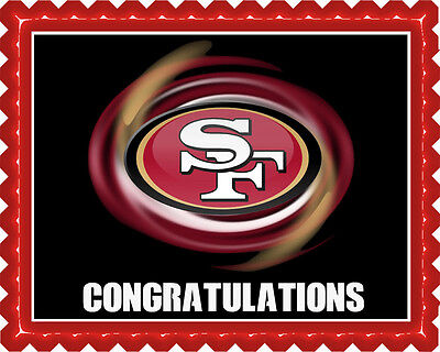 San Francisco 49ers (B) - Edible Cake Topper OR Cupcake Topper, Decor](49ers Cake)