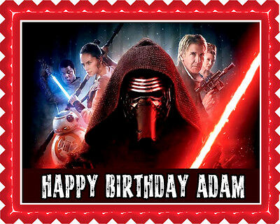 Star Wars 7 Force Awakens 3 Edible Birthday Cake Topper OR Cupcake Topper, Decor](Star Wars Cake Decoration)