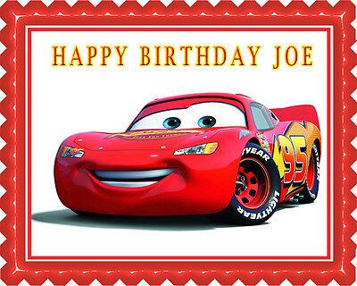 Disney Pixar Cars Lightning McQueen (1) - Edible Cake Topper OR Cupcake Topper (Cars Cupcakes)