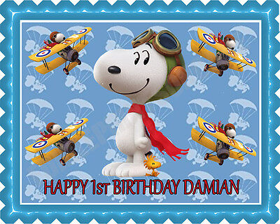 Snoopy Flying Ace - Edible Cake Topper or Cupcake Topper (Snoopy Cupcakes)