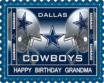 Dallas Cowboys (Nr2) - Edible Cake Topper or Cupcake Topper - Dallas Cowboys Birthday Cake