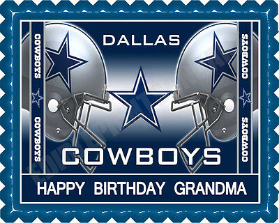 Dallas Cowboys (Nr2) - Edible Cake Topper or Cupcake Topper - Cowboy Birthday Cake
