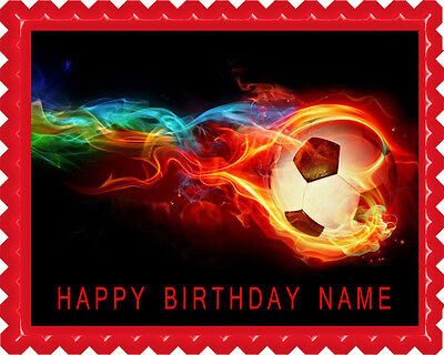 Flaming Soccer Ball - Edible Cake Topper OR Cupcake Topper, Decor - Soccer Cupcake Toppers