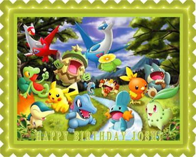 Pokemon Forest - Edible Cake Topper OR Cupcake Topper, Decor - Edible Birthday Cake Decorations