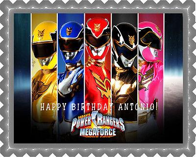 Power Ranger Birthday Cake (Power Rangers Megaforce - Edible Cake Topper OR Cupcake Topper,)