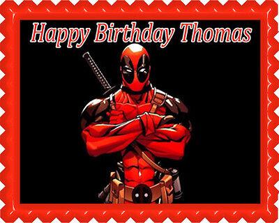 Deadpool - Edible Birthday Cake Topper OR Cupcake Topper, Decor - Deadpool Party Supplies