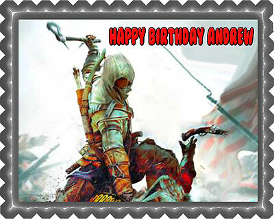 Assassin's Creed - Edible Birthday Cake Topper OR Cupcake Topper, Decor