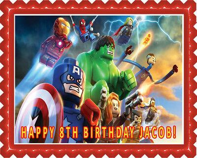 Lego Marvel Superheroes - Edible Cake Topper OR Cupcake Topper, Decor