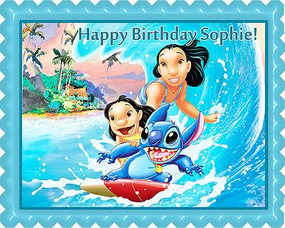 Lilo & Stitch - Edible Birthday Cake Topper OR Cupcake Topper, Decor - Edible Birthday Cake Decorations