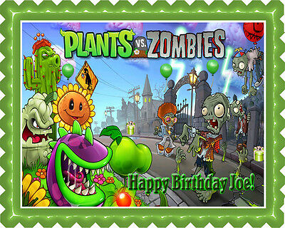 Plants vs Zombies - Edible Cake Topper OR Cupcake Topper, - Plants Vs Zombies Party Supplies