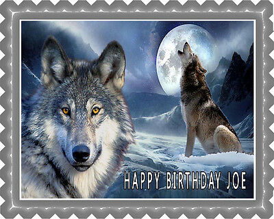 Wolf (Nr2) - Edible Cake Topper OR Cupcake Topper, Decor - Edible Birthday Cake Decorations