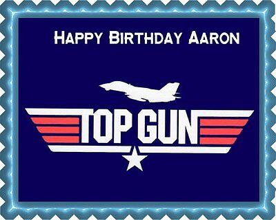 Top Gun - Edible Cake Topper OR Cupcake Topper, Decor - Cake Top Decorations