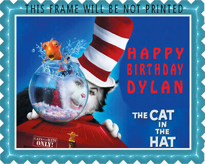 CAT IN THE HAT - Edible Cake Topper or Cupcake