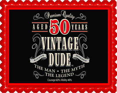 Vintage Dude 50th - Edible Cake Topper or Cupcake Topper (no text is possible) (50 Cake)