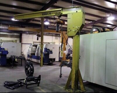 12 Ton Freestanding Jib Crane Great Condition W 12 Ton Electric Chain Hoist