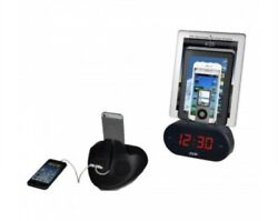 Easy Dock Alarm Clock with Universal Smart Phone Cradle Dual USB Charger