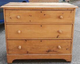 Shabby 19th Century Waxed Pine Chest Of Three Drawers