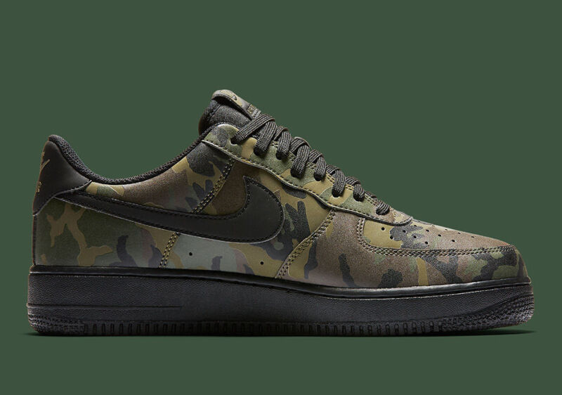 93b0bcd9c0901 NIKE AIR FORCE 1 07 LV8 MEDIUM OLIVE CAMO REFLECTIVE SHOES 718152 203 SIZE  8.5