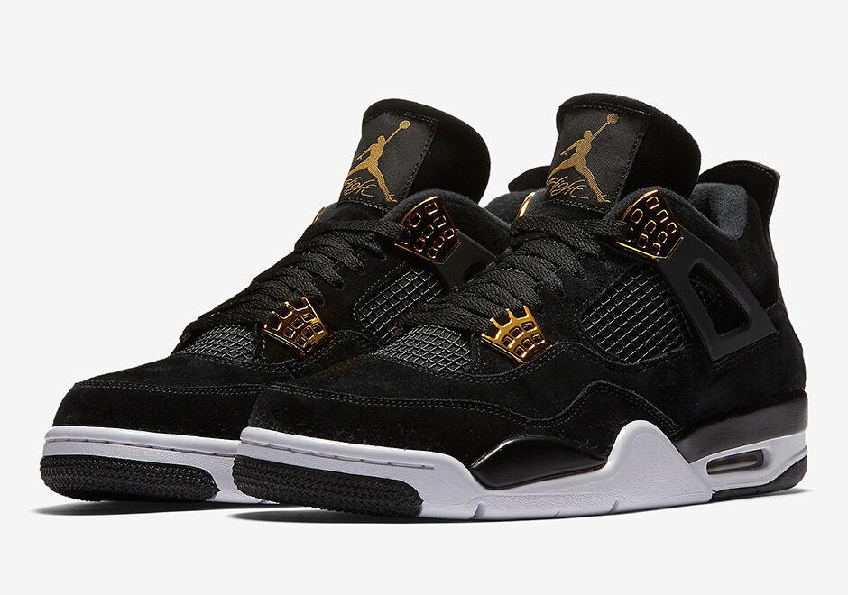 Nike - Nike Air Jordan 4 Retro Royalty IV Sz 4-12 Black Suede Metallic Gold 308497-032