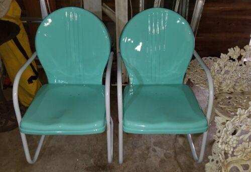 Pair of MidCentury Metal Patio Chairs. Professional Restoration. NICE!