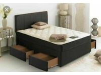 ⭐🆕 BRAND NEW SINGLE-SMALL DOUBLE-DOUBLE & KINGSIZE DIVAN BED BASES ON SALE WITH MATTRESS OPTIONS