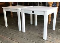 Pair Of White Shabby Chic Side Tables- NEW