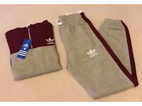 LT Grey & Red Wine Full Jogging Tracksuit Brand New Size L