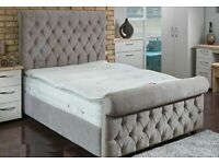 BRAND NEW STEEL PLUSH VELVET SLEIGH FRAME BED WITH GASLIFT STORAGE AND HEADBOARD
