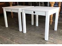 Pair Of White Shabby Chic Side Tables - NEW