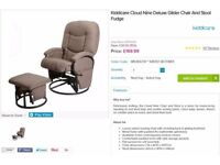 Kiddicare Cloud Nine Deluxe Glider Chair And Stool Fudge
