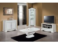 Prestige White Corner Display Cabinet with Crystals Inserts( Ex-Display)
