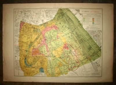 Plan antique card location of the 13eme, XIII district de Paris 1924
