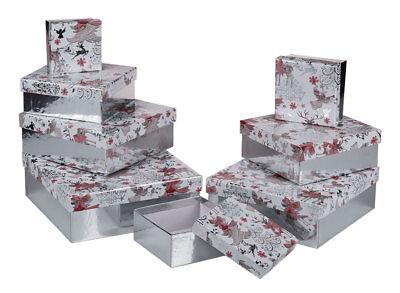 Geschenkbox 8x Geschenk Schachtel Karton Aufbewahrungsbox Weihnachten Verpackung