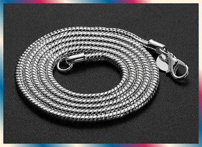 925 Sterling Silver Round Snake Chain Necklace 3mm thick 16'' - - 3mm Thick Snake Chain
