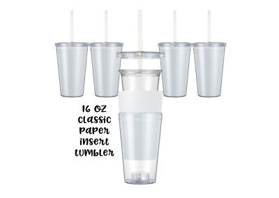 BLANK Maars Insert ACRYLIC TUMBLERS 16 oz.  Double Insulated with lid and straw (Tumblers With Lids And Straws)