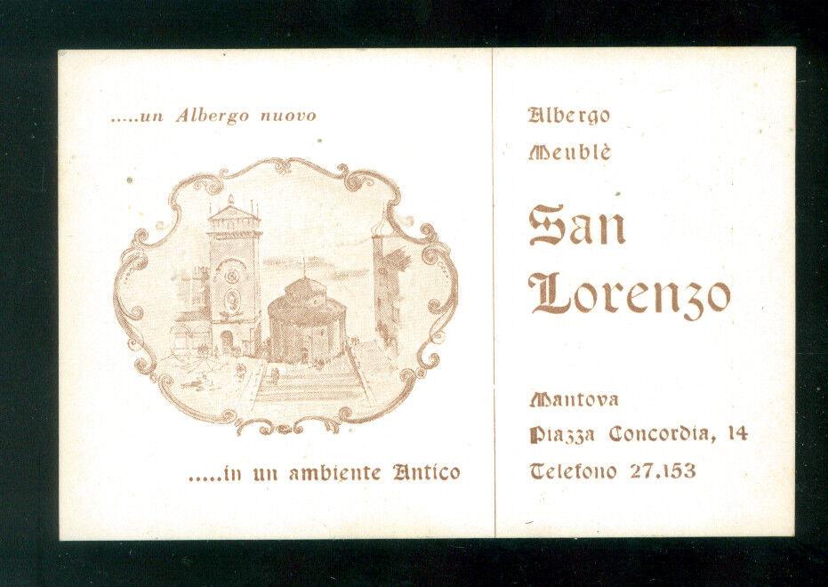 BIGLIETTO DA VISITA ALBERGO SAN LORENZO MANTOVA ANNI '60 TURISMO LOMBARDIA