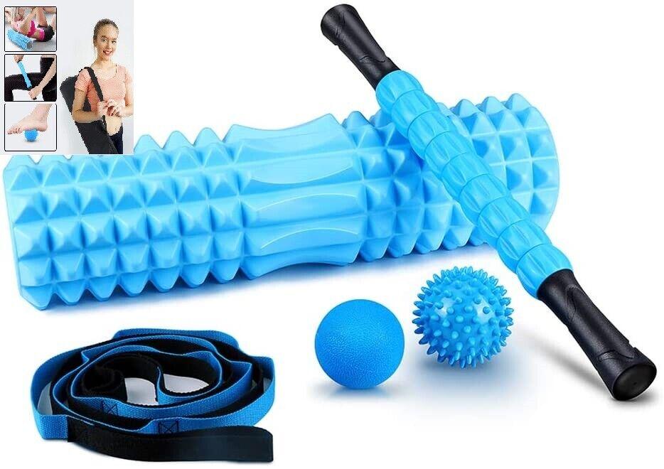 5 in 1 Foam Roller Set Includes Hollow Core Massage Roller Spikey Stretch Strap Health & Beauty